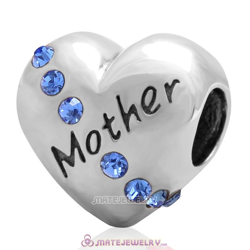 Sapphire Crystal Mother Heart Love Bead 925 Sterling Silver