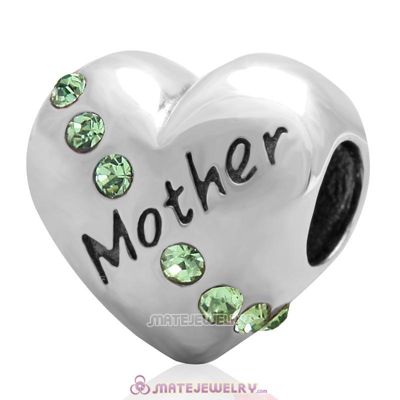 Peridot Crystal Mother Heart Love Bead 925 Sterling Silver