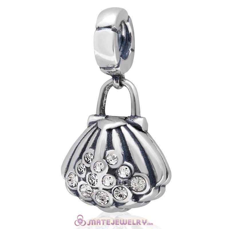Pearl Shell Dangle Bead Clear Australian Crystal 925 Sterling Silver Charm