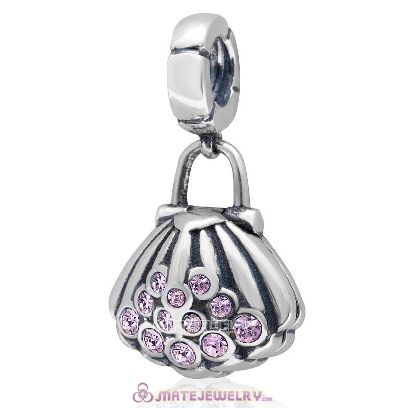 Pearl Shell Dangle Bead Violet Australian Crystal 925 Sterling Silver Charm