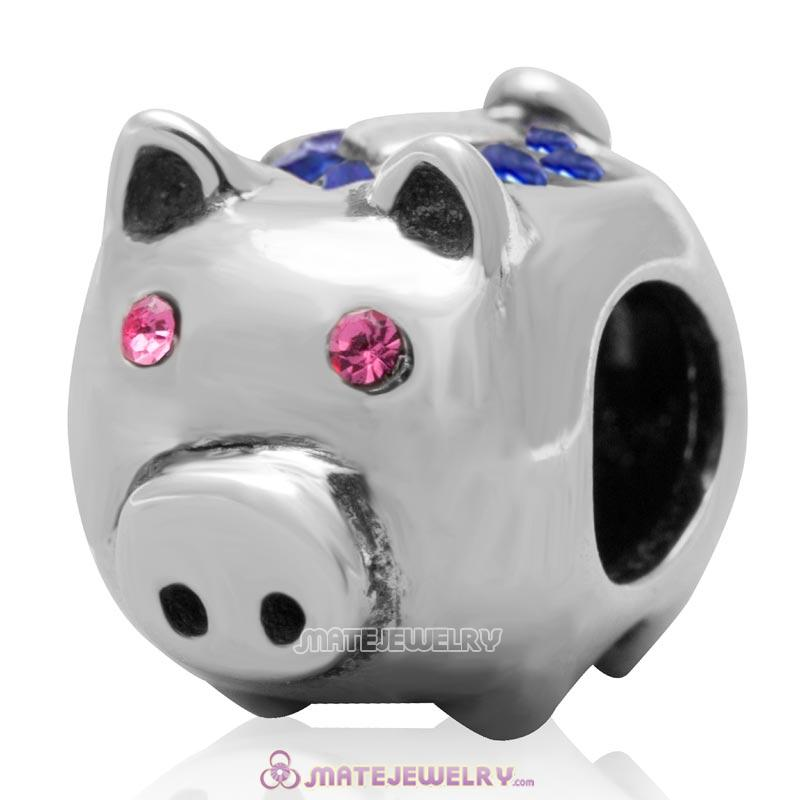 Cute Pig Bead 925 Sterling Silver with Sapphire Love Crystal Charm