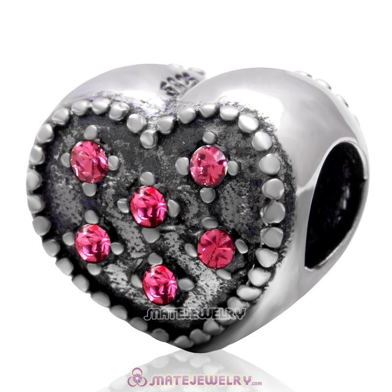 925 Sterling Silver Charm Sparkly Rose Crystal Heart Bead