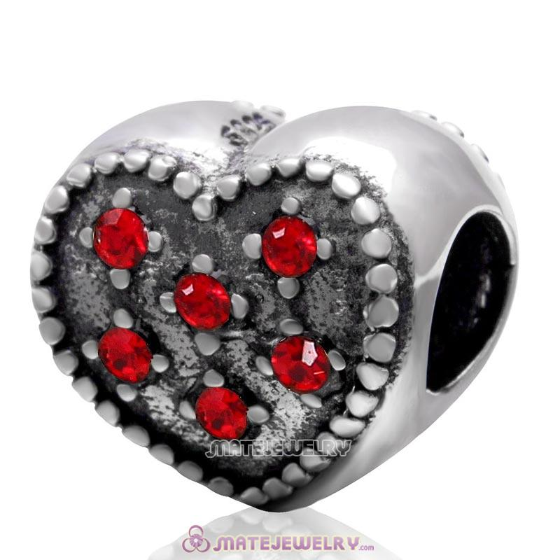925 Sterling Silver Charm Sparkly Lt Siam Crystal Heart Bead