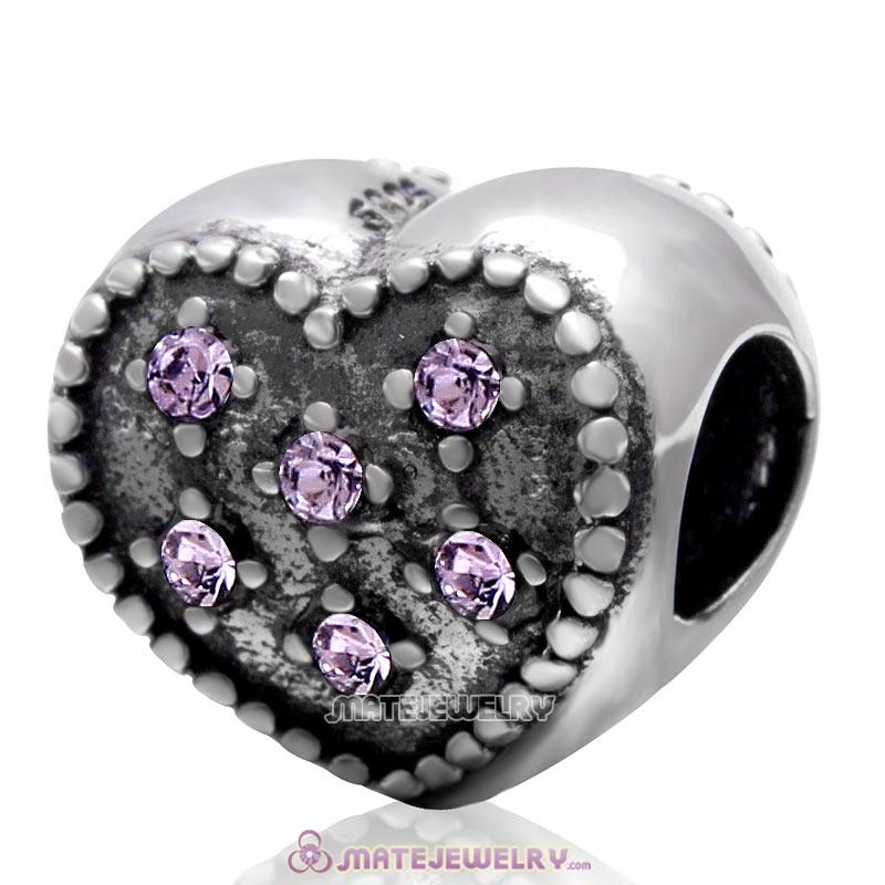 925 Sterling Silver Charm Sparkly Violet Crystal Heart Bead