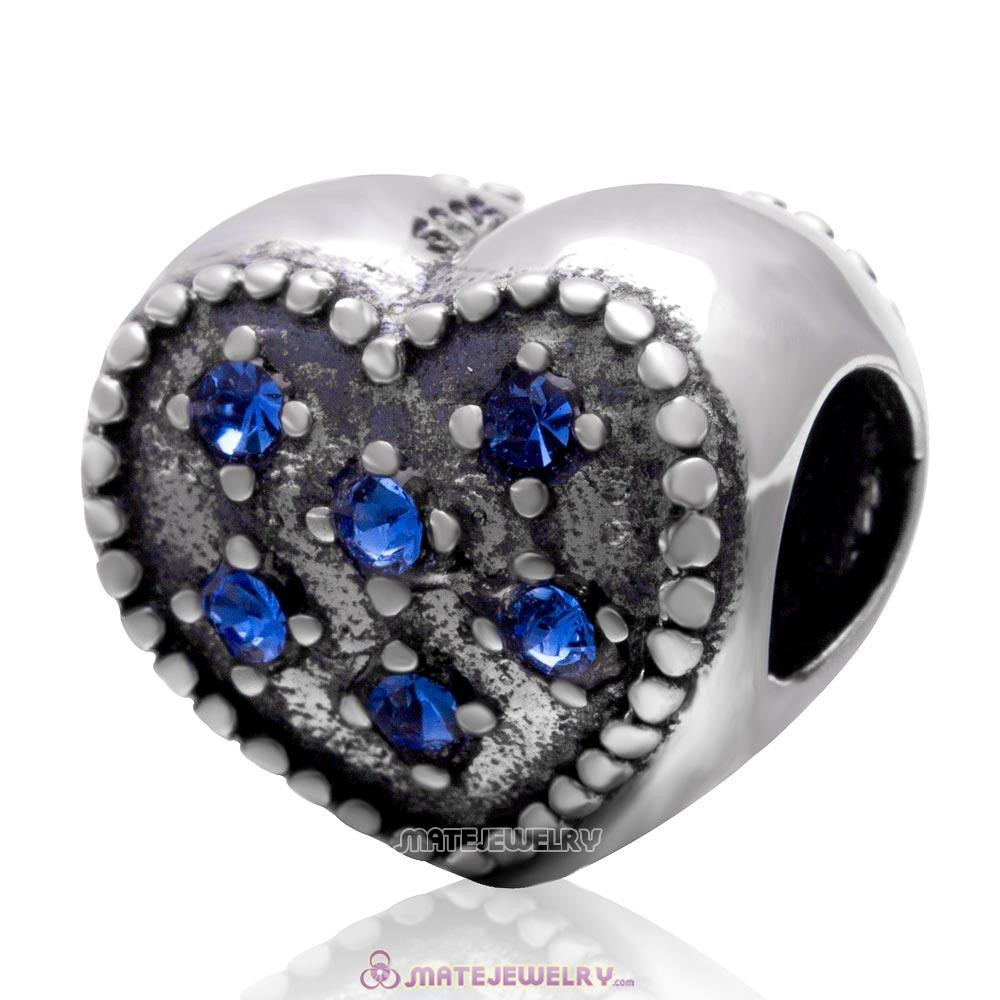 925 Sterling Silver Charm Sparkly Sapphire Crystal Heart Bead