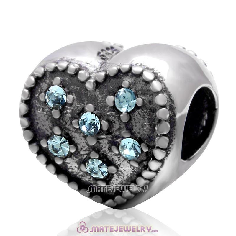 925 Sterling Silver Charm Sparkly Aquamarine Crystal Heart Bead