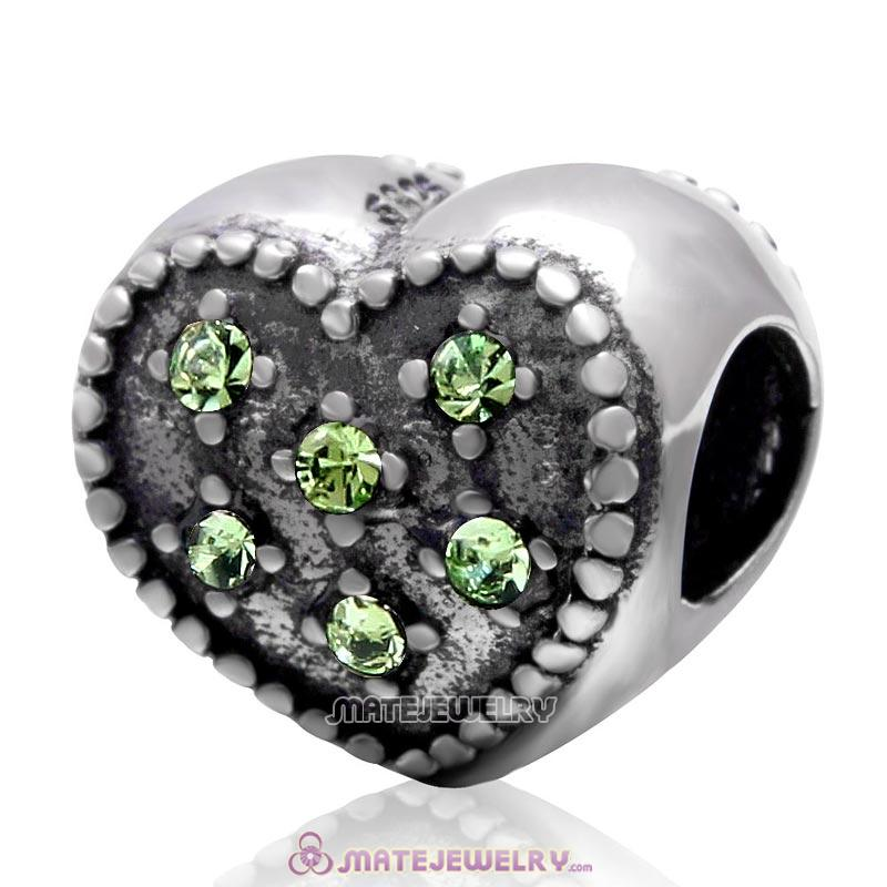 925 Sterling Silver Charm Sparkly Peridot Crystal Heart Bead