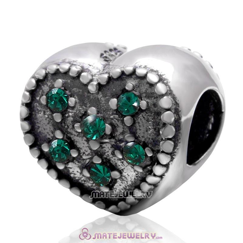 925 Sterling Silver Charm Sparkly Emerald Crystal Heart Bead