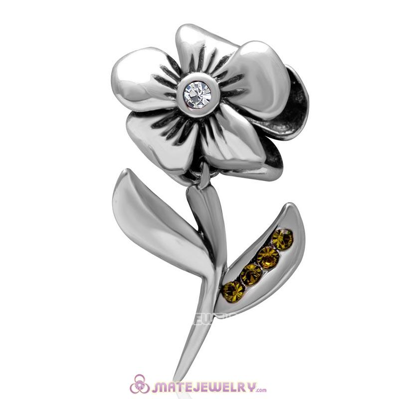 925 Sterling Silver Hibiscus Flower Clear Crystal Charms
