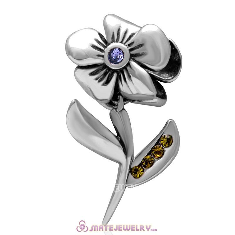925 Sterling Silver Hibiscus Flower Tanzanite Crystal Charms