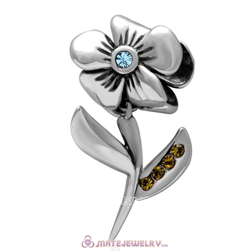 925 Sterling Silver Hibiscus Flower Aquamarine Crystal Charms