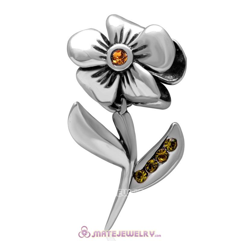 925 Sterling Silver Hibiscus Flower Topaz Crystal Charms