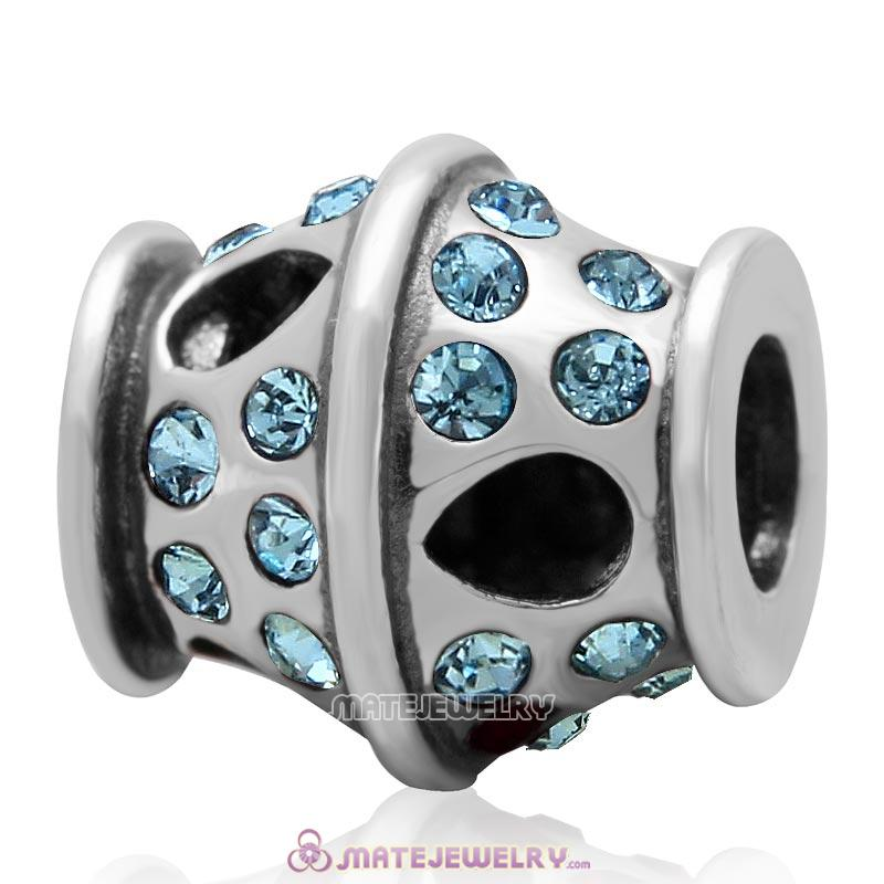 Sparkling Bucket Charm 925 Sterling Silver with Aquamarine Crystal Bead