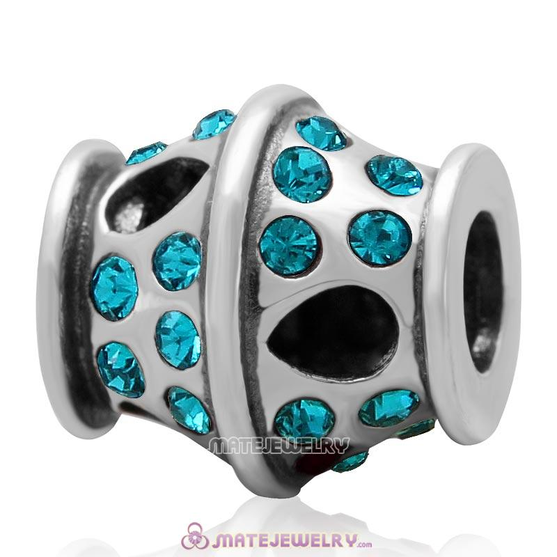 Sparkling Bucket Charm 925 Sterling Silver with Blue Zircon Crystal Bead