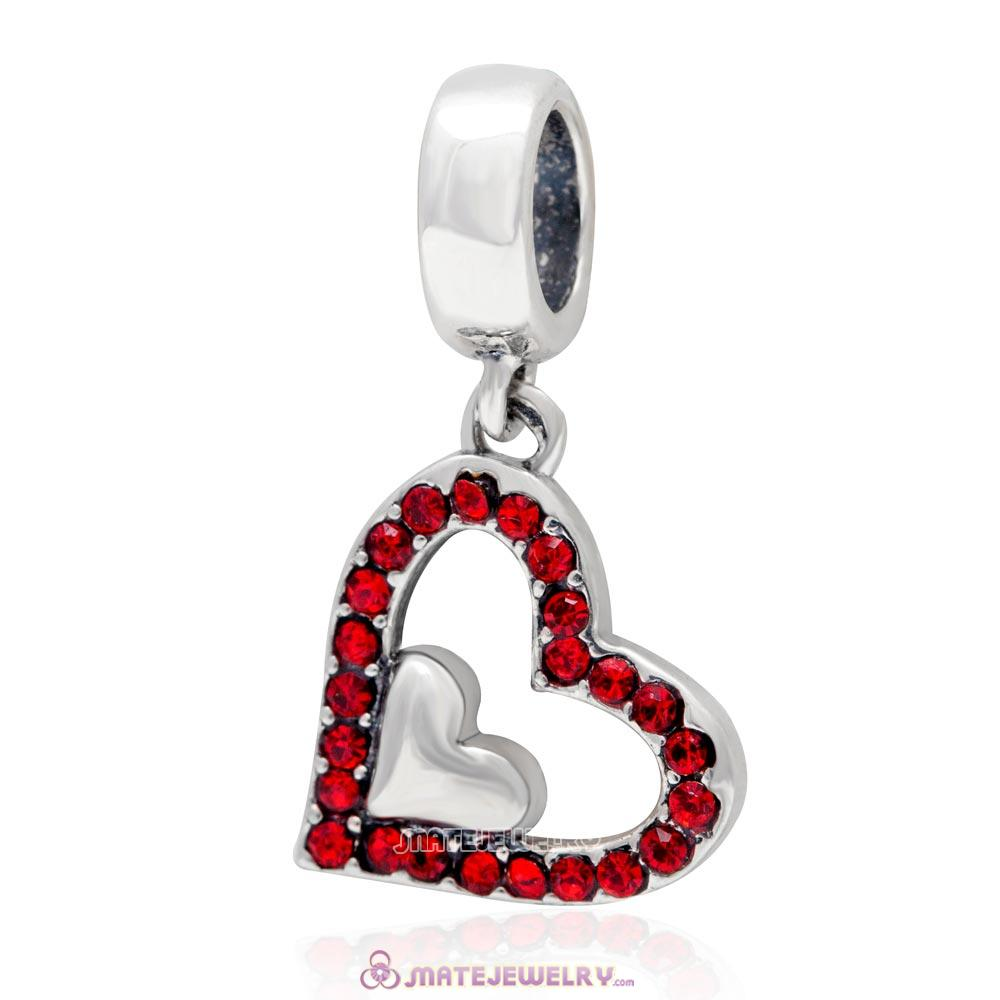 925 Sterling Silver Lt Siam Crystal Heart in Heart Pendant Charm