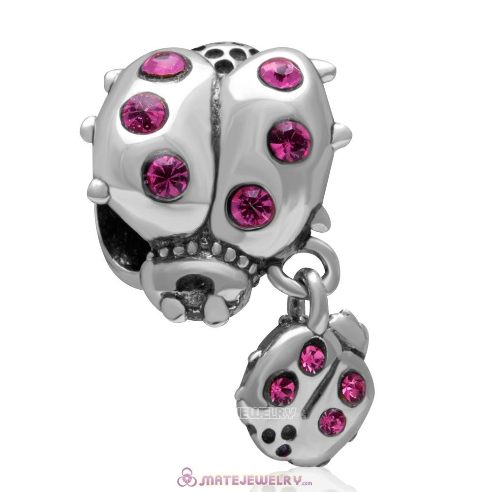 Ladybug with Dangling Smaller Ladybug Lt Siam Crystal 925 Sterling Silver Charm