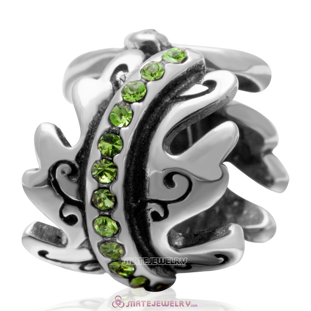 European August Birthstone Charm Spacer Peridot Crystal Bead 925 Silver