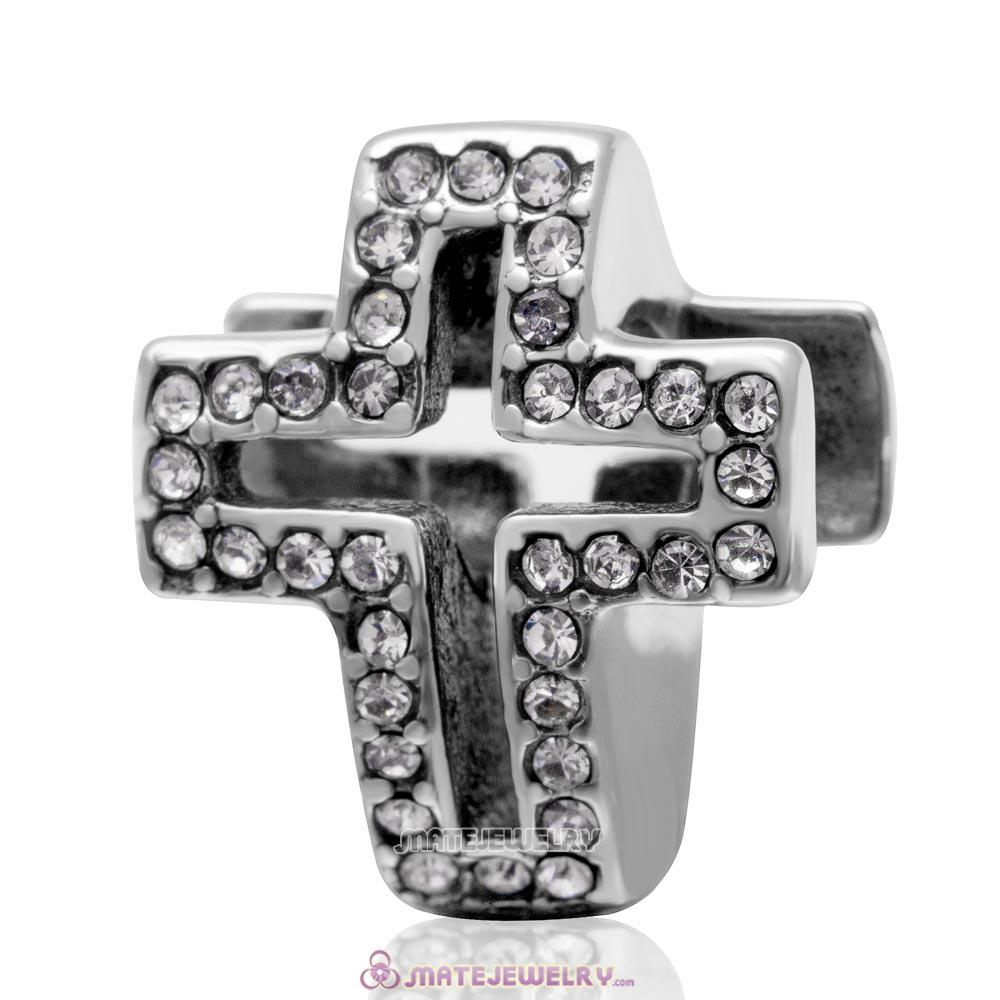 Spackly Christian Cross Charm 925 Sterling Silver with Clear Crystal