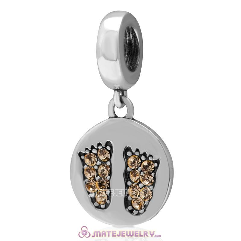 Jonquil Crystal Pave Baby Feet Charm Dangle 925 Sterling Silver