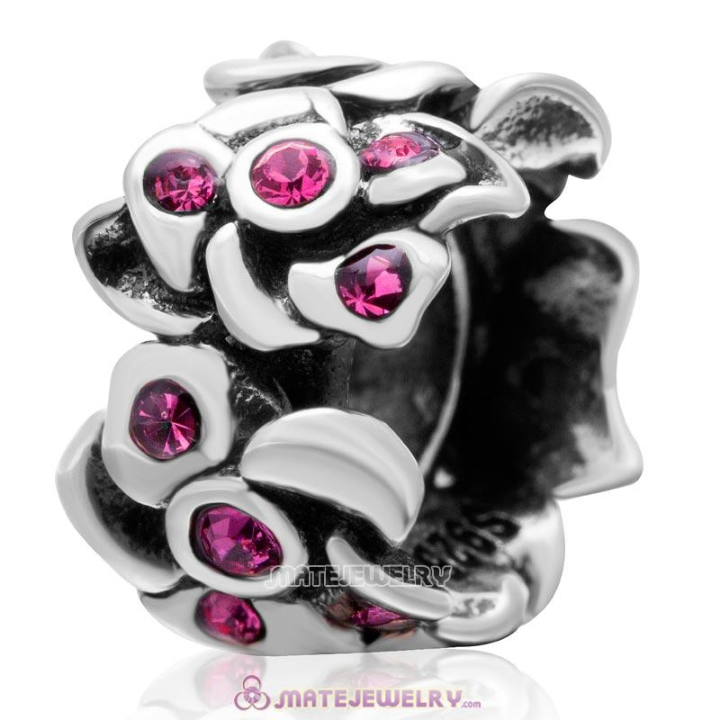 Poppy Flower Spacer Charm 925 Sterling Silver Bead with Rose Crystal
