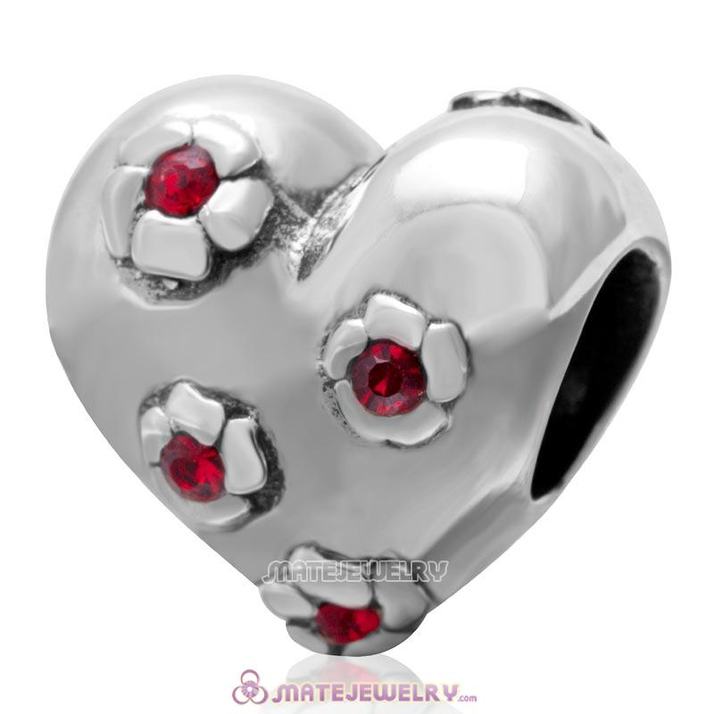 925 Sterling Silver Sweet Heart Bead with Lt Siam Crystal