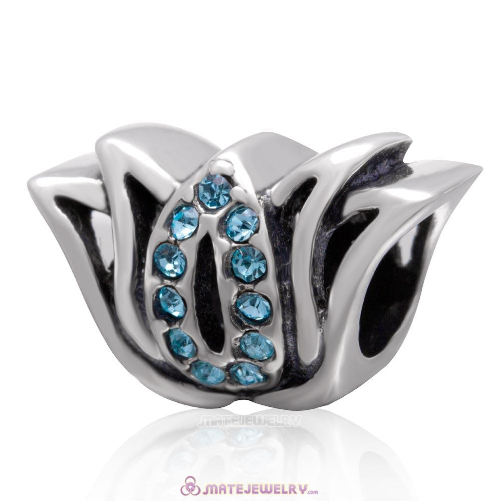 925 Sterling Silver Tulip Flower Bead with Aquamarine Crystal Charm