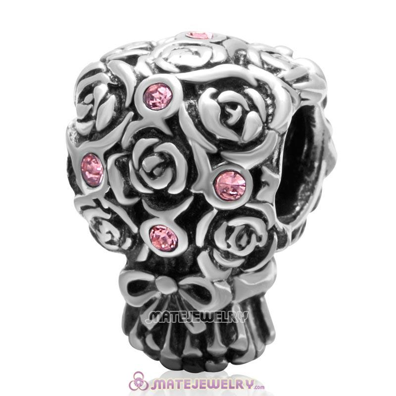 Wedding Bouquet 925 Sterling Silver with Lt Rose Crystal Charm