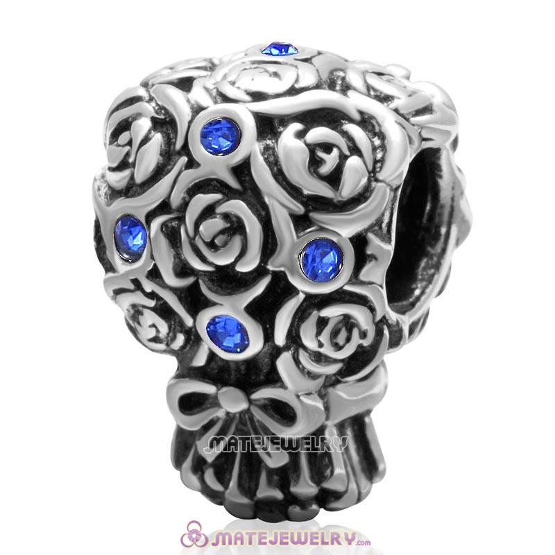 Wedding Bouquet 925 Sterling Silver with Sapphire Crystal Charm