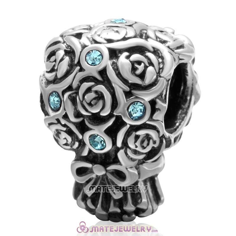 Wedding Bouquet 925 Sterling Silver with Aquamarine Crystal Charm