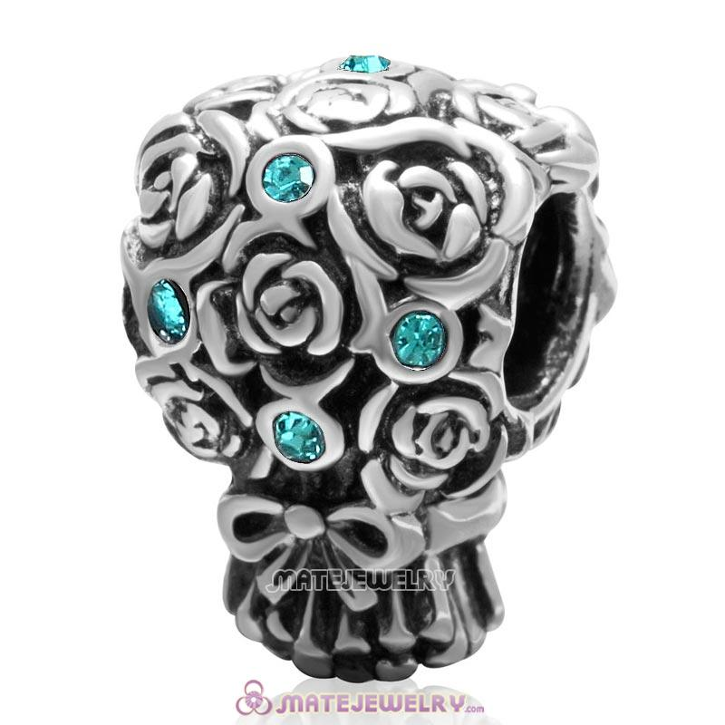 Wedding Bouquet 925 Sterling Silver with Blue Zircon Crystal Charm