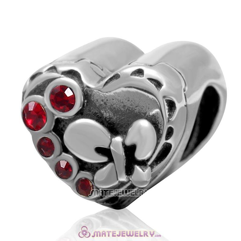 Butterfly Charm 925 Sterling Silver with Siam Crystal Love Heart Bead