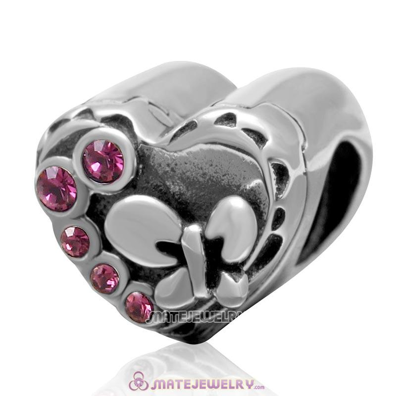 Butterfly Charm 925 Sterling Silver with Amethyst Crystal Love Heart Bead