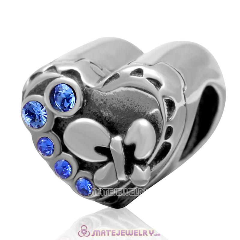 Butterfly Charm 925 Sterling Silver with Sapphire Crystal Love Heart Bead