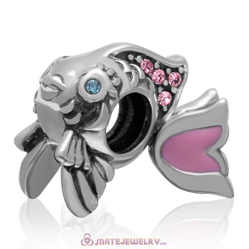 Pink Movable Tail Cute Fish Charm with Lt Rose Crystal in 925 Sterling Silver