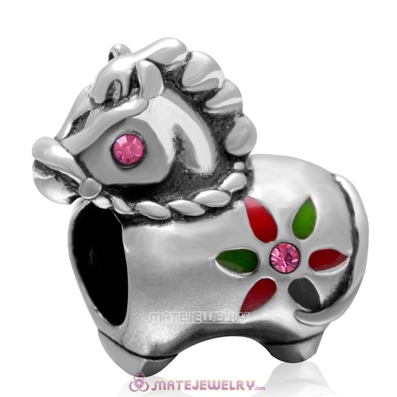 Cute Horse Charm with Rose Crystal in 925 Sterling Silver