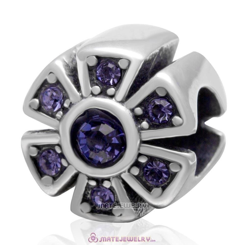 925 Sterling Silver Sparkly Flower Tanzanite Crystal Charm Bead