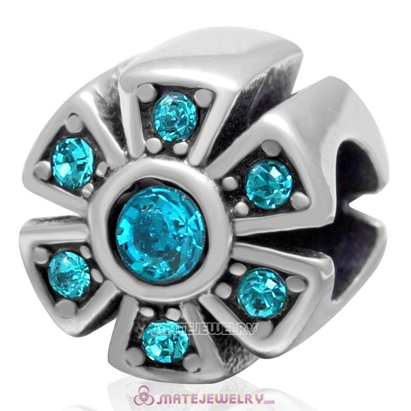 925 Sterling Silver Sparkly Flower Blue Zircon Crystal Charm Bead