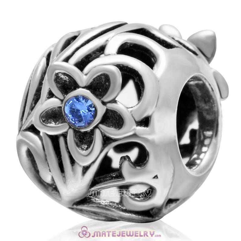 925 Sterling Silver Daisy Flower Sapphire Crystal Charm Bead