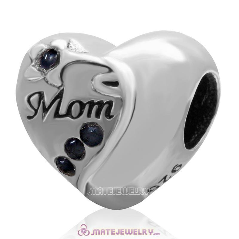 Jet Crystal 925 Sterling Silver Mom Heart Bead