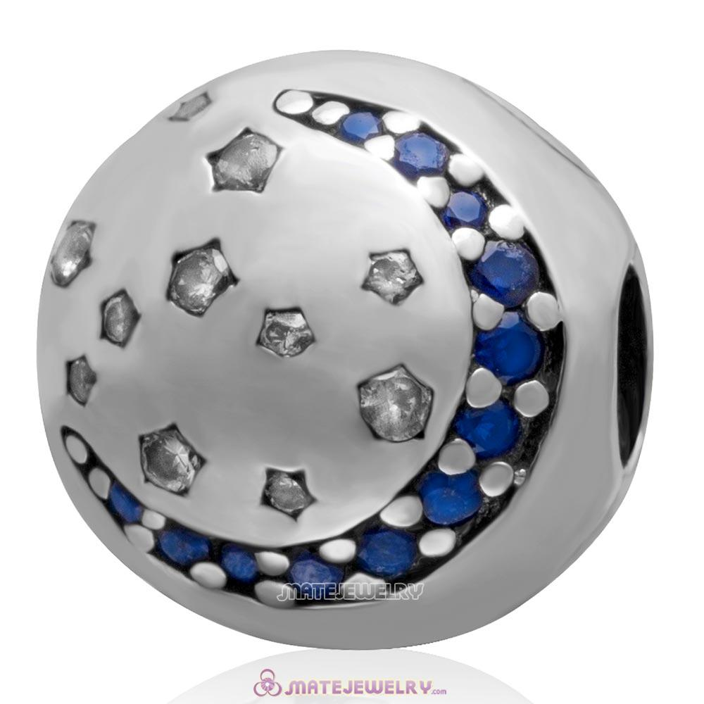 Sterling Silver Twinkling Night with Sapphire CZ Stone Clip Beads European Style