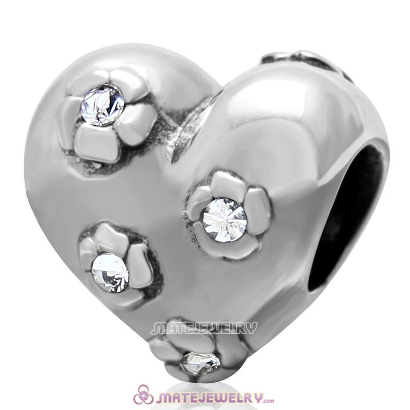 925 Sterling Silver Sweet Heart Bead with Clear Crystal