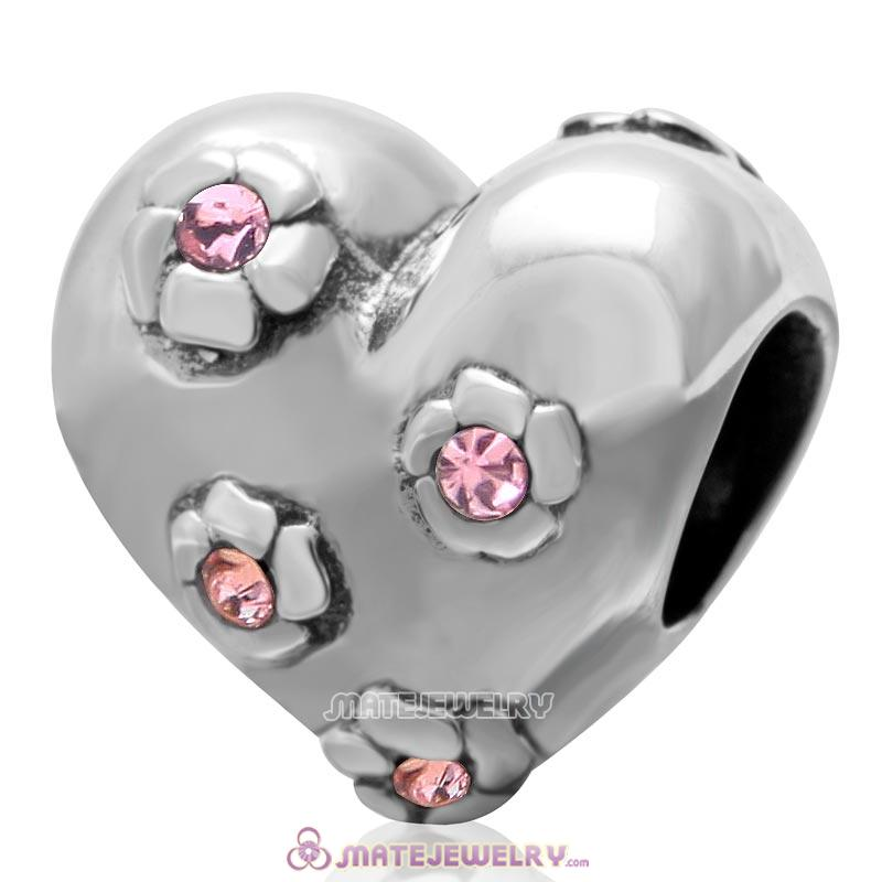 925 Sterling Silver Sweet Heart Bead with Lt Rose Crystal