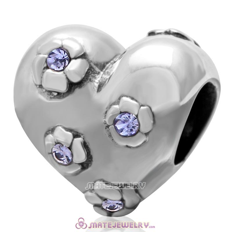 925 Sterling Silver Sweet Heart Bead with Tanzanite Crysta