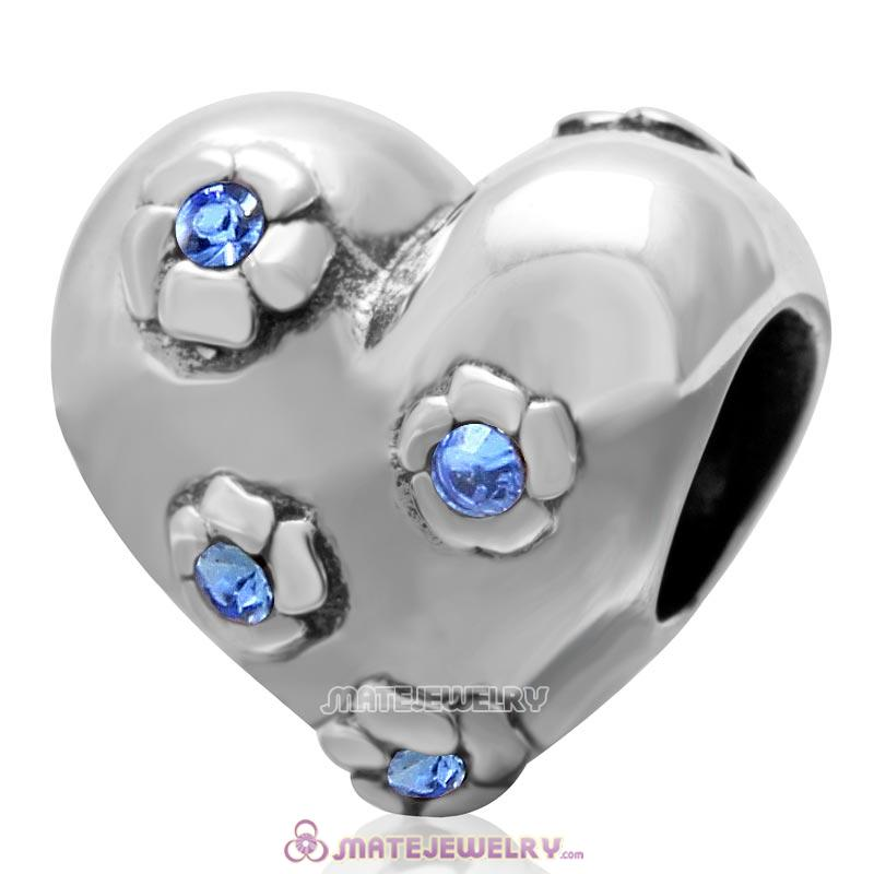 925 Sterling Silver Sweet Heart Bead with Sapphire Crysta
