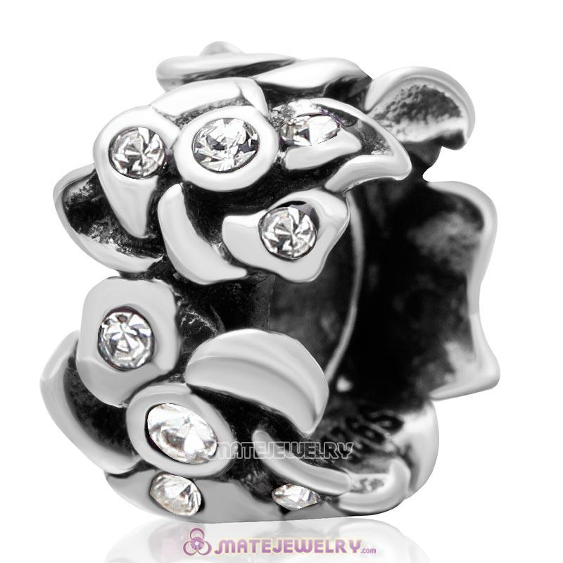 Poppy Flower Spacer Charm 925 Sterling Silver Bead with Clear Crystal