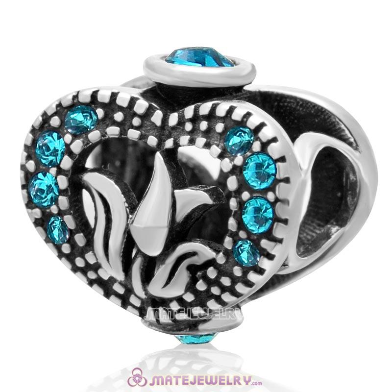 Love Tulip Heart with Blue Zircon Crystal 925 Sterling Silver Charm Bead