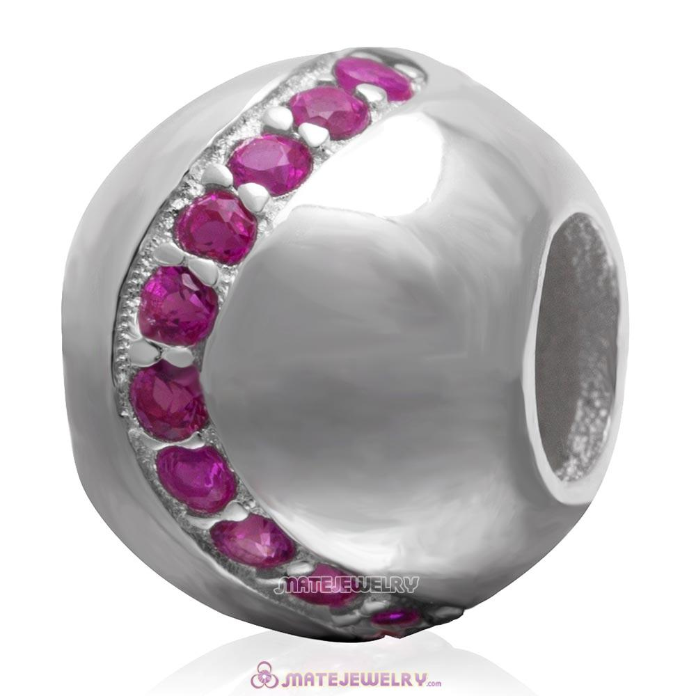 Fuchsia Cz 925 Sterling Silver Ball Bead