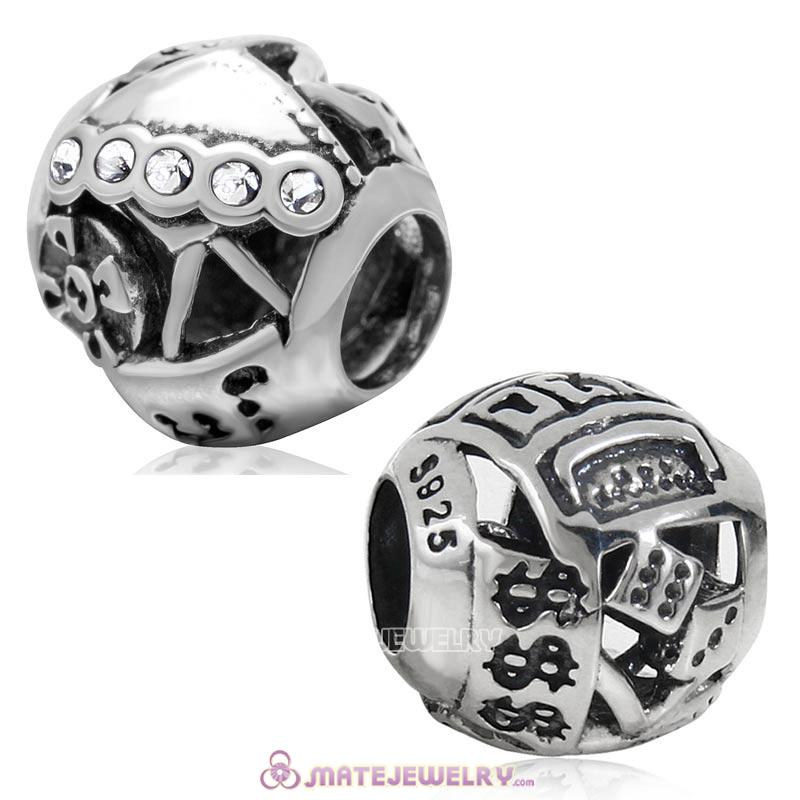 925 Sterling Silver Las Vegas Gambling Bead with Clear Crystal