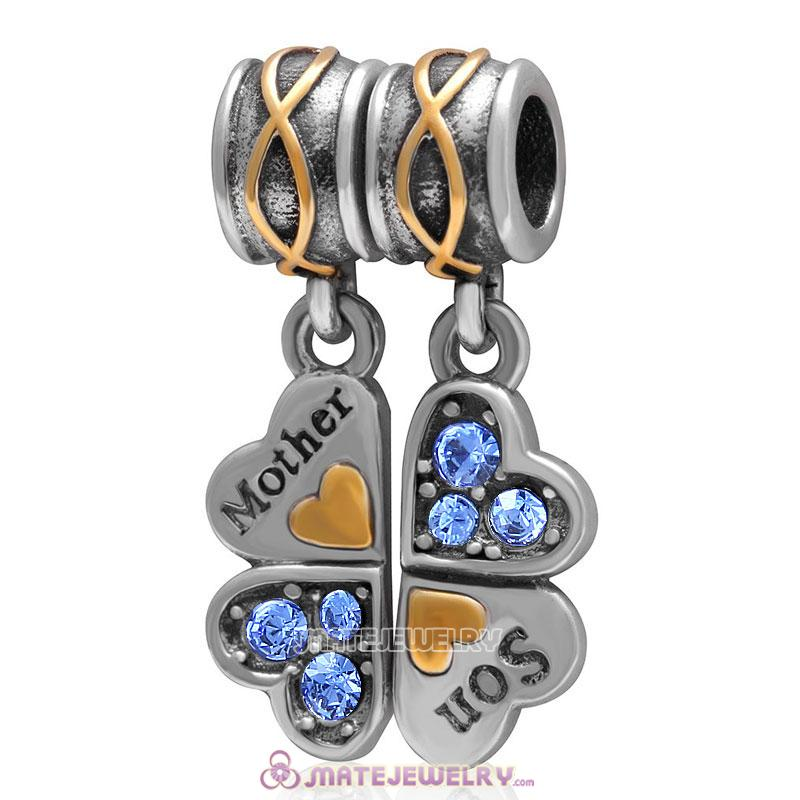 1 Pair Mother Son Clover Charm Sterling Silver with Sapphire Austrian Crystal