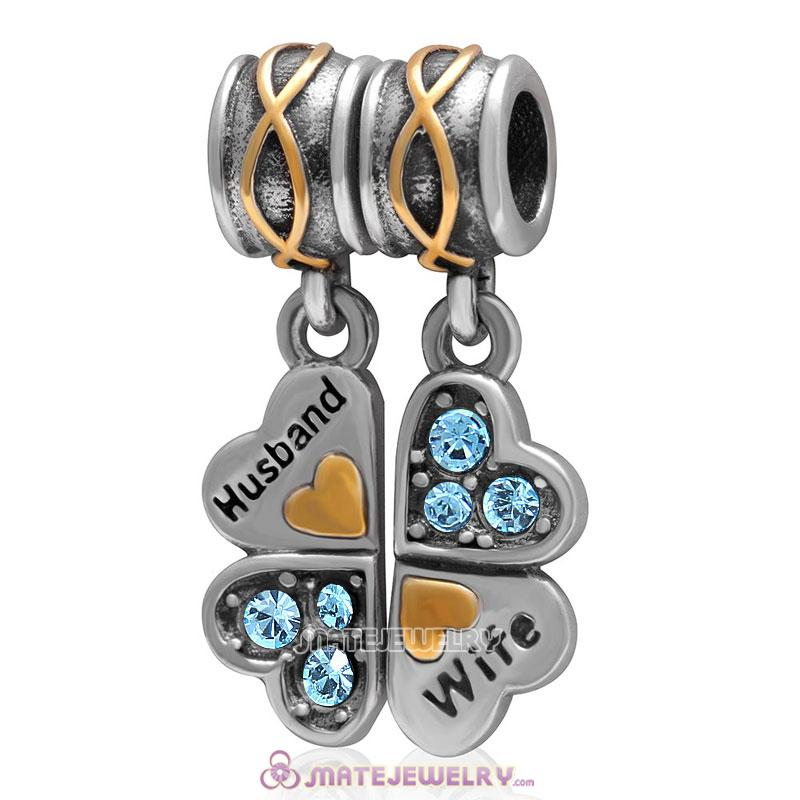 1 Pair Wife Husband Clover Charm Sterling Silver with Aquamarine Austrian Crystal